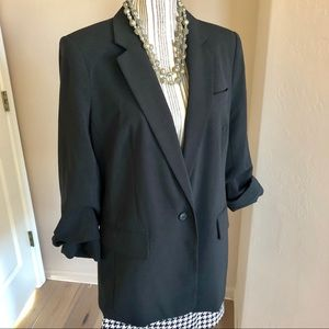 MICHAEL KORS ONE BUTTON BLAZER W RUCHED SLEEVES